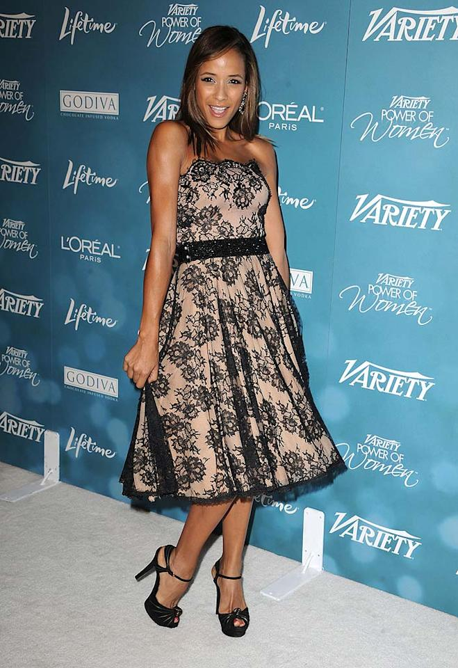 """Entourage"" starlet Dania Ramirez was pretty as a picture in a strapless lace Tadashi Shoji gown. Steve Granitz/<a href=""http://www.wireimage.com"" target=""new"">WireImage.com</a> - September 30, 2010"