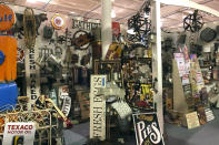 Items are for sale at Exit 76 Antique Mall in Edinburgh, Indiana, Tuesday, July 21, 2020. U.S. Rep. Greg Pence. Pence, the older brother of Vice President Mike Pence, is coming under criticism for allowing the sale of objects with racist depictions of African Americans at the sprawling antiques mall the congressman owns with his wife. (AP Photo/Casey Smith)
