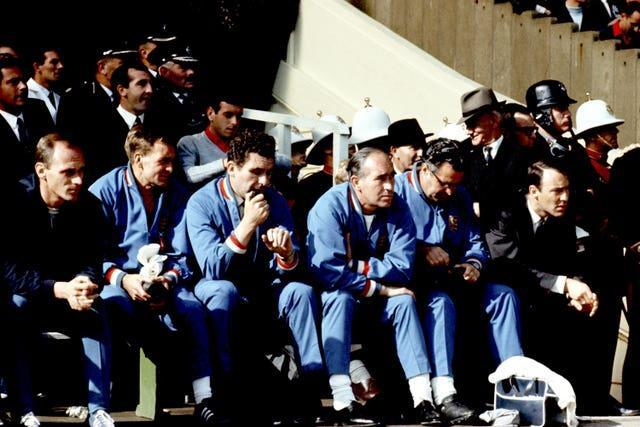 Jimmy Greaves, far right, watched the World Cup final from England's bench