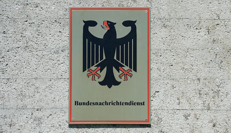 The emblem of the German Federal Intelligence Service (BND) at the entrance of the Mangfall baracks in Bad Aibling, on June 6, 2014