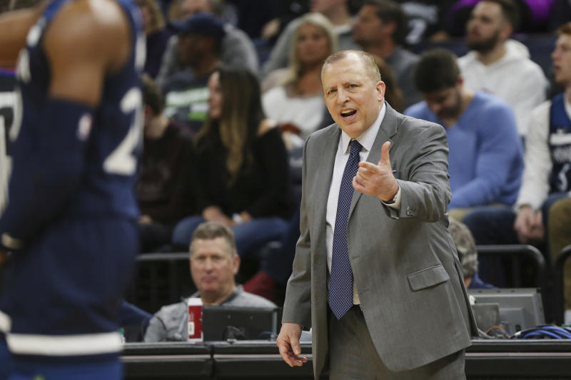 Minnesota Timberwolves' head coach Tom Thibodeau calls out to his team during the second half of an NBA basketball game against the Los Angeles Lakers, Sunday, Jan. 6, 2019, in Minneapolis. A person with knowledge of the decision tells The Associated Press that the Timberwolves have fired Thibodeau halfway into his third season with the team that began with turmoil surrounding All-Star Jimmy Butler. The person spoke to the AP on condition of anonymity, because the Timberwolves had not yet announced the news. The Athletic first reported that Thibodeau, who was also the president of basketball operations with full authority over the roster, had been let go. (AP Photo/Stacy Bengs)