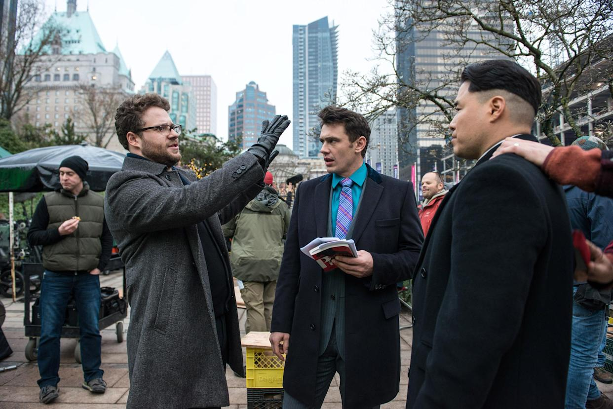 Rogen, Franco and Randall Park on the set of 'The Interview' (Photo: Ed Araquel/©Columbia Pictures/courtesy Everett Collection)
