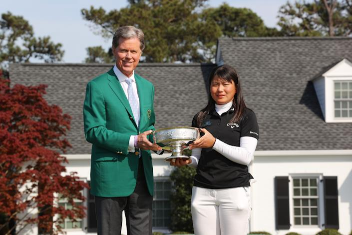 Augusta National chairman Fred Ridley, seen here with Women's Amateur winner Tsubasa Kajitani, spoke about Georgia's election law Wednesday. (Photo by Kevin C. Cox/Getty Images)