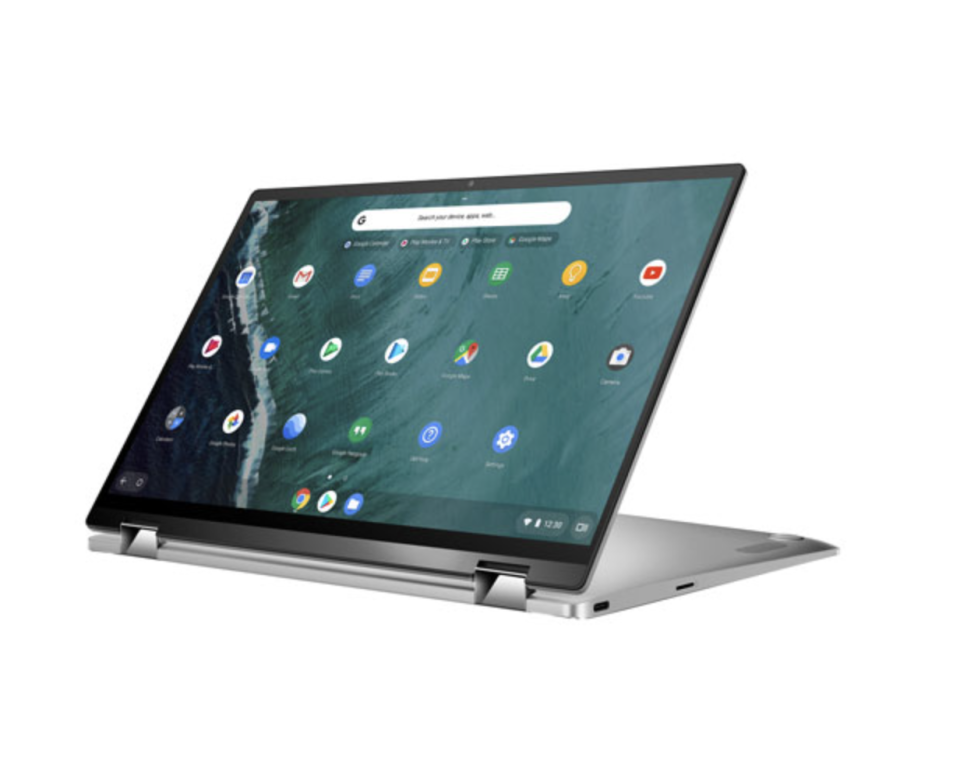 green screen with icons of the ASUS Flip 14