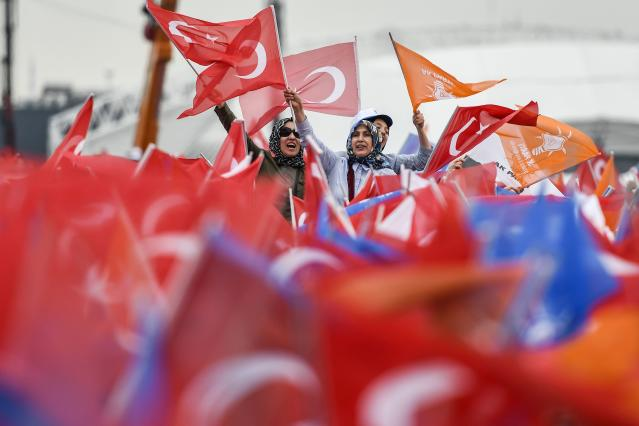 Supporters cheer prior to speech by Recep Tayyip Erdogan, Turkey's president and leader of the Justice and Development Party (AKP),  during an AKP preelection rally in Yenikapi Square in Istanbul on Sunday. (Photo: Aris Messinis /AFP/Getty)