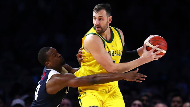 Pictured here, Boomers centre Andrew Bogut playing against Team USA.