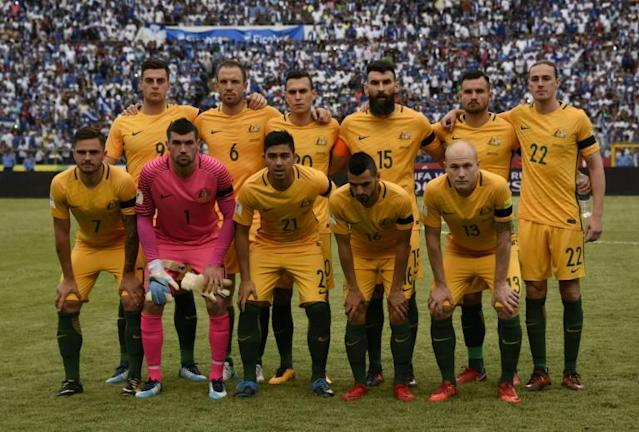 Australia's Socceroos pose for a photo ahead of their FIFA 2018 World Cup qualifying first leg match against Honduras, in San Pedro Sula, on November 10, 2017