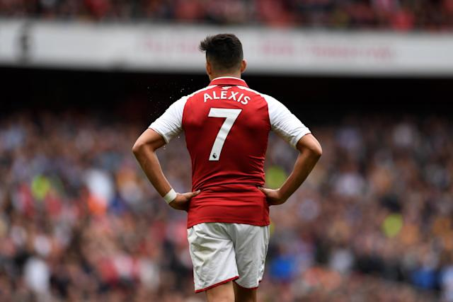 "Soccer Football - Premier League - Arsenal vs Brighton & Hove Albion - Emirates Stadium, London, Britain - October 1, 2017 Arsenal's Alexis Sanchez reacts Action Images via Reuters/Tony O'Brien EDITORIAL USE ONLY. No use with unauthorized audio, video, data, fixture lists, club/league logos or ""live"" services. Online in-match use limited to 75 images, no video emulation. No use in betting, games or single club/league/player publications. Please contact your account representative for further details."