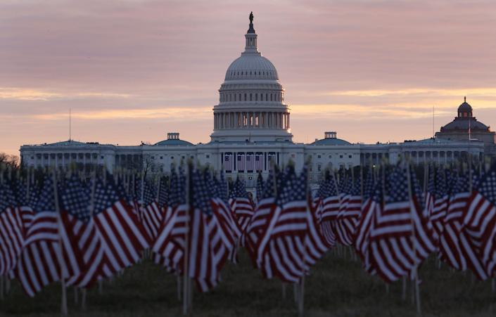 "The ""Field of Flags"" will take the place of tens of thousands of American people at President-elect Joe Biden's inauguration. (Photo: Joe Raedle via Getty Images)"