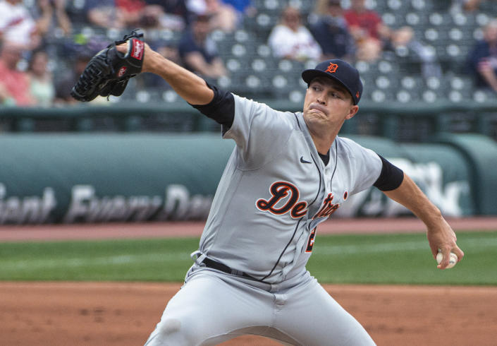 Detroit Tigers starting pitcher Tarik Skubal delivers to a Cleveland Indians batter during the first inning of a baseball game in Cleveland, Saturday, April 10, 2021. (AP Photo/Phil Long)