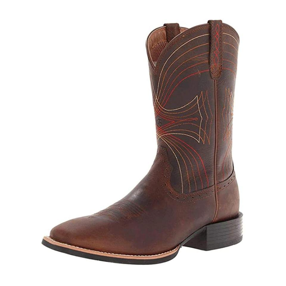 "<p><strong>ARIAT</strong></p><p>amazon.com</p><p><strong>$159.95</strong></p><p><a href=""https://www.amazon.com/dp/B0091UNPXO?tag=syn-yahoo-20&ascsubtag=%5Bartid%7C10050.g.36302897%5Bsrc%7Cyahoo-us"" rel=""nofollow noopener"" target=""_blank"" data-ylk=""slk:Shop Now"" class=""link rapid-noclick-resp"">Shop Now</a></p><p><strong><em>Ariat Men's Square-Toe Cowboy Boots</em></strong></p><p>Wyoming is known for the famous Yellowstone National Park, of course, but it's also known for its cowboy culture. Shop this pair of Ariat genuine leather boots with embroidered detailing, and you'll fit right in!<br></p>"