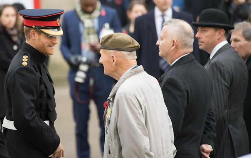 """The flame-haired royal was attending an event to honour soldier at the Field of Remembrancewhen he was asked by 28-year-old Matt Weston where his """"missus"""" was. Photo: Getty Images"""