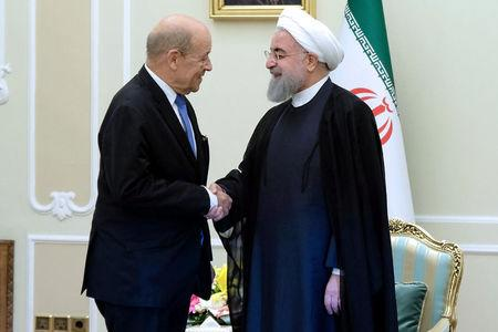FILE PHOTO: Iranian President Hassan Rouhani shakes hands with French Foreign Affairs Minister Jean-Yves Le Drian, in Tehran