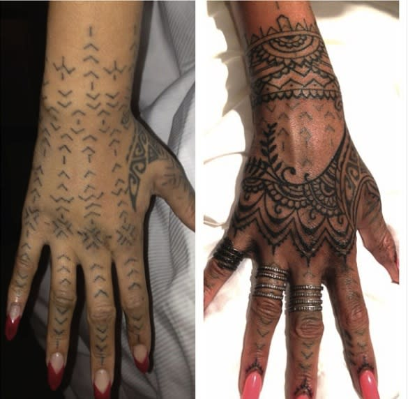 """<p>Rihanna recently <a href=""""http://www.dailymakeover.com/trends/body/rihannas-maori-tattoo/"""" rel=""""nofollow noopener"""" target=""""_blank"""" data-ylk=""""slk:got a traditional New Zealand Maori tattoo"""" class=""""link rapid-noclick-resp"""">got a traditional New Zealand Maori tattoo</a> on her right hand (photo on left) in a painful process that involves driving the ink into the skin using a wooden spike and a mallet. But then this weekend, RiRi flew famed New York-based artist <strong>Bang Bang McCurdy </strong>and a member of his team, <strong>Cally-Jo, </strong>to the Dominican Republic to add to the existing Maori design. Eleven hours later and the singer's entire right hand (picture on right) was covered in an extensive henna-art inspired drawing. </p>"""