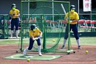 Several hundred residents of Ota City north of Tokyo turned out to watch Australia's softball team train