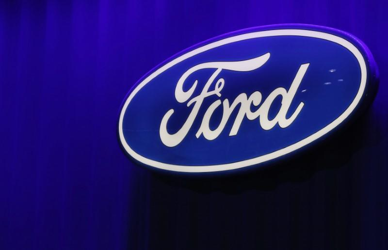 Ford logo is seen at the North American International Auto Show in Detroit, Michigan