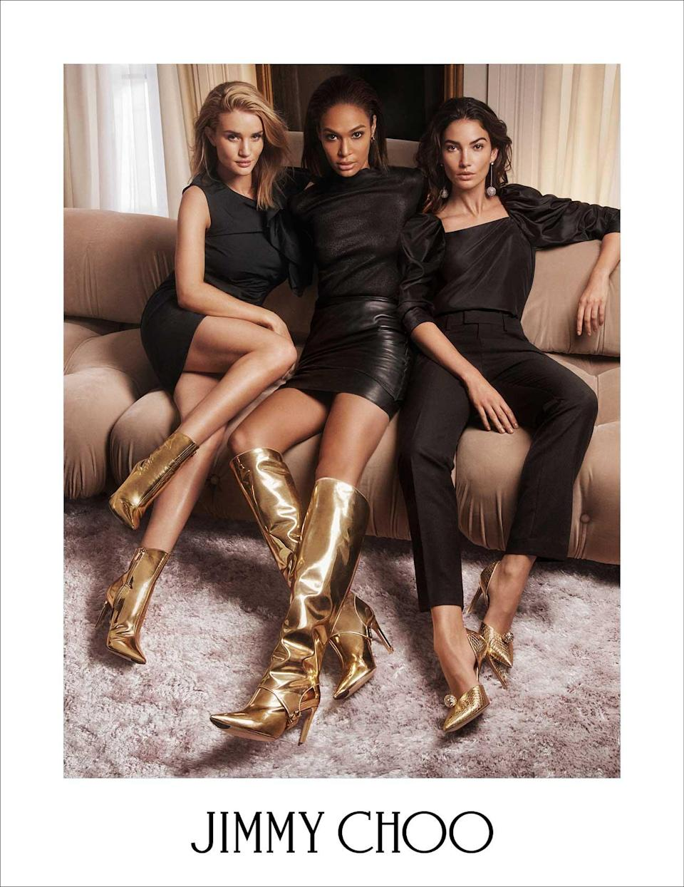 <p><strong>Models:</strong> Rosie Huntington-Whiteley, Joan Smalls, and Lily Aldridge<br><strong>Photographer:</strong> Lachlan Bailey<br>(Photo: Courtesy of Jimmy Choo) </p>