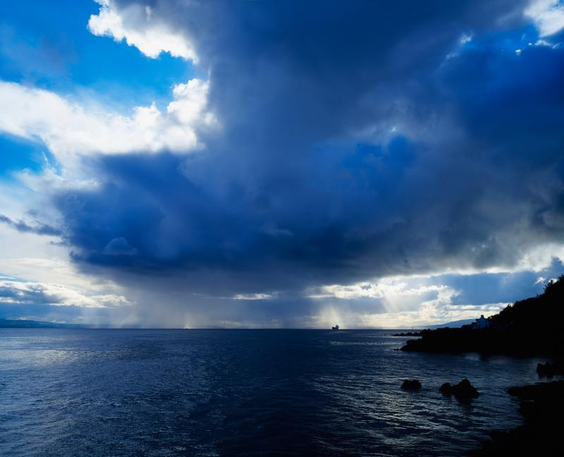 Rain shower over Lough Foyle from Greencastle, Co Donegal, Ireland