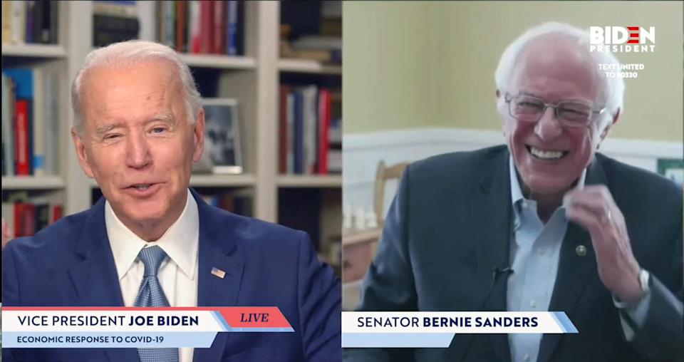 On April 13, Sen. Bernie Sanders (I-Vt.) endorsed Joe Biden for president in a streaming broadcast.  (Photo: Handout via Getty Images)