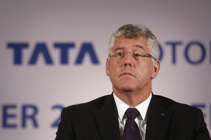 Karl Slym, managing director of Tata Motors, looks on during news conference to announce their second quarter results in Mumbai