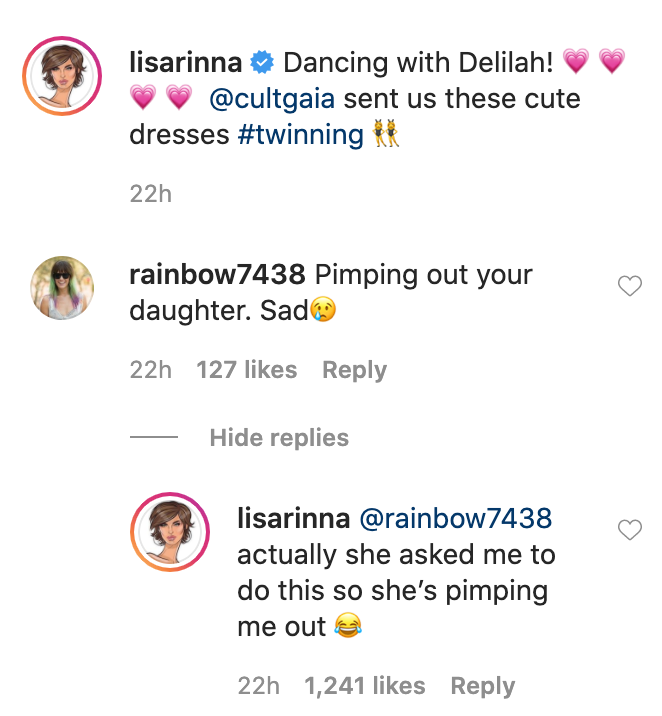"""Lisa Rinna quickly clapped back at the haters accusing her of """"pimping out"""" her daughter."""