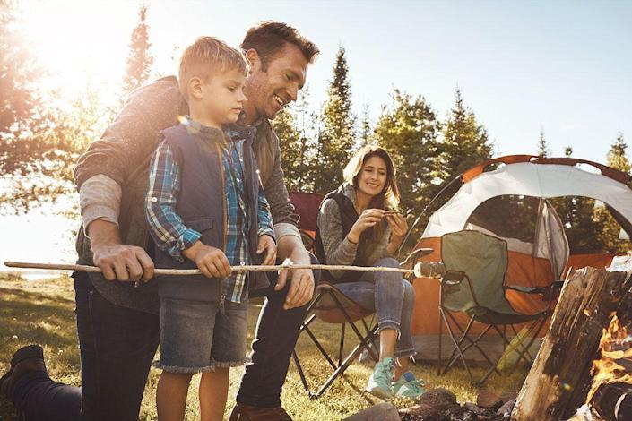 <p>There's so much exploring and bonding to be had on a camping trip. Treat dad to a great outdoor getaway by helping him pitch a tent, make some s'mores and do a little stargazing. </p>