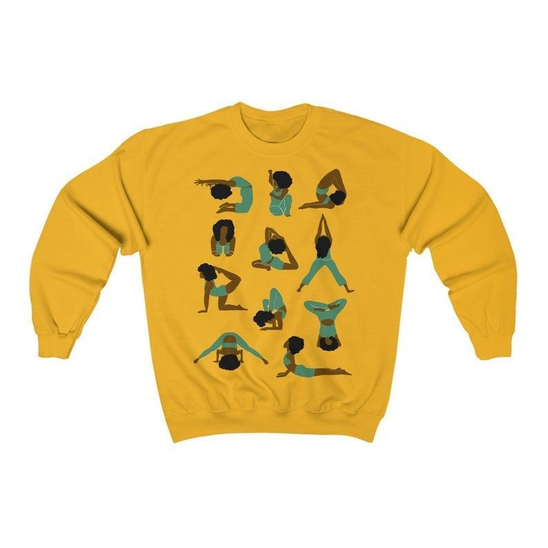 "<h2>The Trinigee Yoga Poses Sweatshirt</h2><br>Let your friend telegraph their favorite workout while they're on their next Zoom call by gifting them this cute sweatshirt. It features original, hand-drawn images of people in various <a href=""https://www.refinery29.com/en-us/yoga-poses-for-beginners"" rel=""nofollow noopener"" target=""_blank"" data-ylk=""slk:yoga poses"" class=""link rapid-noclick-resp"">yoga poses</a>, and it comes in tons of colors.<br><br><strong>the trinigee</strong> Yoga Poses Sweatshirt, $, available at <a href=""https://go.skimresources.com/?id=30283X879131&url=https%3A%2F%2Fwww.etsy.com%2Flisting%2F629662924%2Fblack-woman-yoga-poses-sweatshirt-gift"" rel=""nofollow noopener"" target=""_blank"" data-ylk=""slk:Etsy"" class=""link rapid-noclick-resp"">Etsy</a>"
