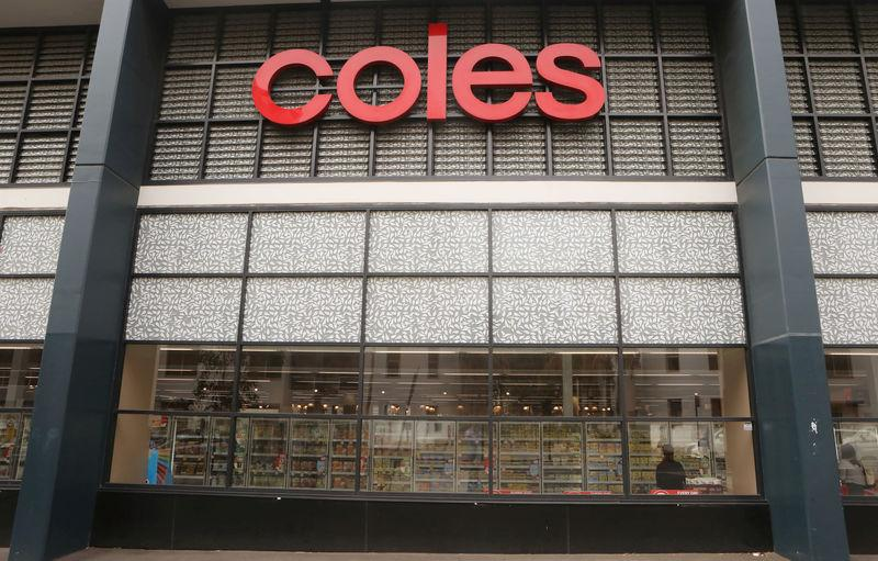 FILE PHOTO: The Coles (main Wesfarmers brand) logo is seen on a facade of a Coles supermarket in Sydney