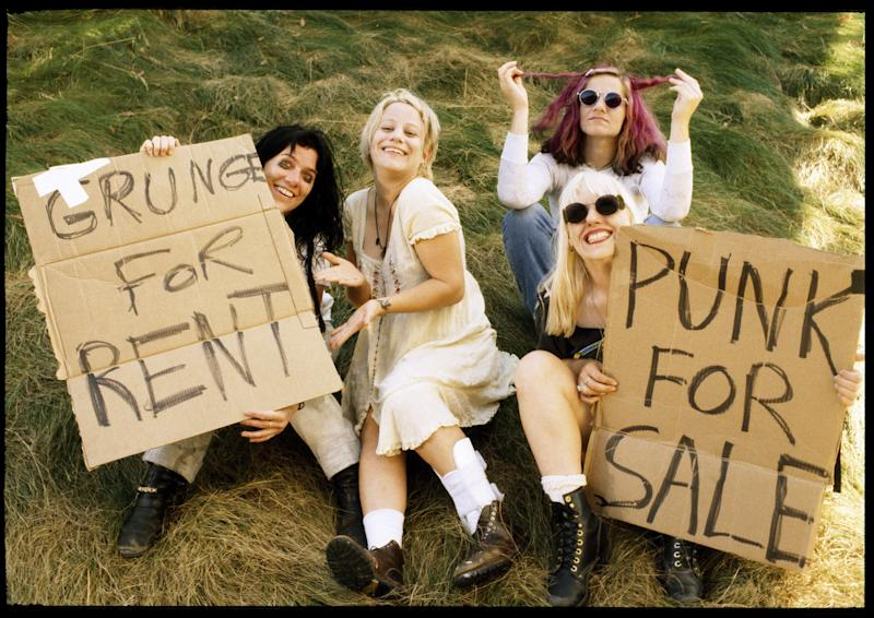 """L7 at Lollapalooza in Mountain View, California, 1994. Photographed by Jay Blakesberg and featured in the exhibition """"Grunge: Rise of a Generation,"""" curated by Marcelle Murdock and Casey Fannin-Kaplan. On view at Morrison Hotel Gallery in New York, Maui, and Los Angeles from March 8 through 31, 2019."""