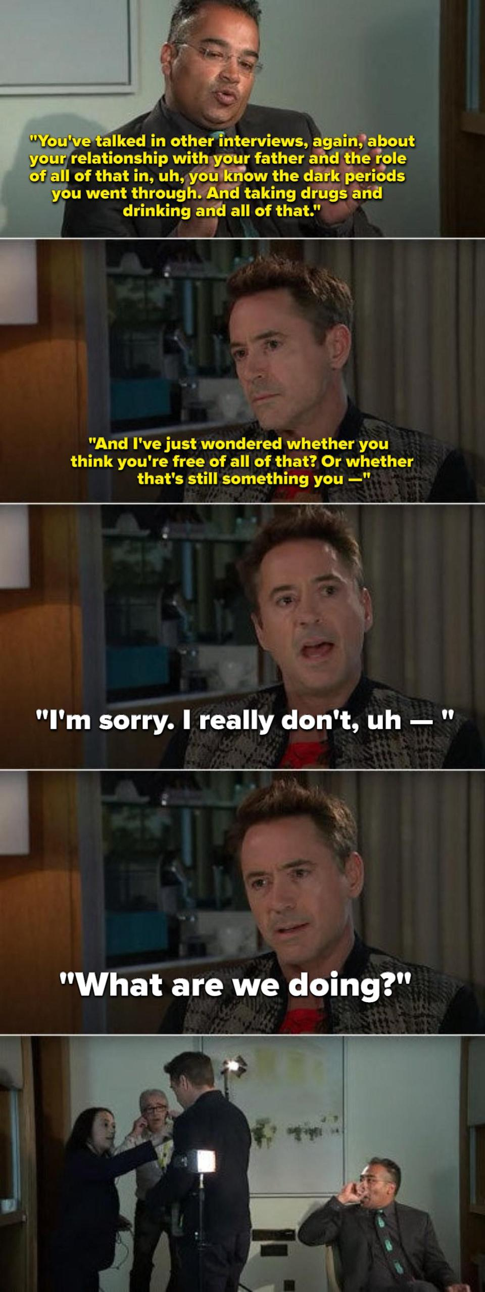 Robert Downey Jr. leaving an interview after being asked about his addiction and relationship with his father