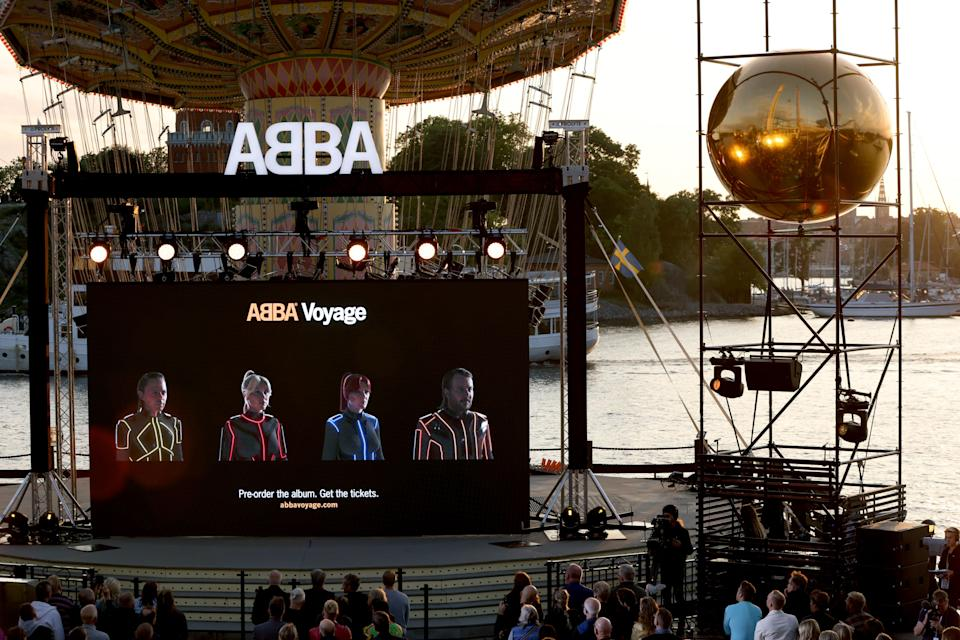 Members of the Swedish group ABBA are seen on a display during their Voyage event at Grona Lund, Stockholm, on September 2, 2021, during their presentation of the first new song after nearly four decades. - Sweden OUT (Photo by Fredrik PERSSON / TT News Agency / AFP) / Sweden OUT (Photo by FREDRIK PERSSON/TT News Agency/AFP via Getty Images)