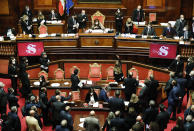 A general view of the upper house of parliament at the Senate after a confidence vote, in Rome, Tuesday, Jan. 19, 2021. Italian Premier Giuseppe Conte fights for his political life with an address aimed at shoring up support for his government, which has come under fire from former Premier Matteo Renzi's tiny but key Italia Viva (Italy Alive) party over plans to relaunch the pandemic-ravaged economy. (Yara Nardi/pool photo via AP)