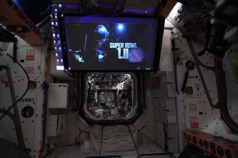 Watching the Super Bowl in outer space is possible, and without a delay at the International Space Station. (Joe Acaba/NASA)