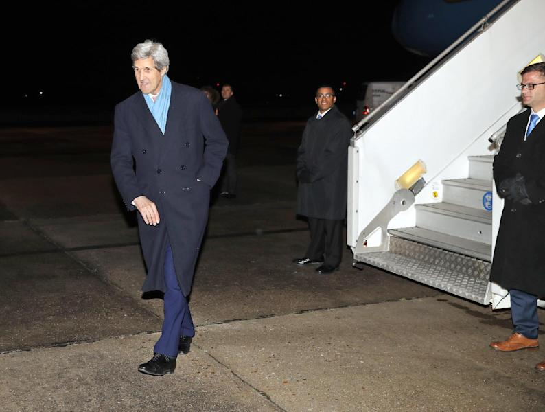 U.S. Secretary of State John Kerry walks to a waiting car as he arrives at Le Bourget Airport Sunday, Jan. 15, 2017 in Paris, France. Kerry is attending a Middle East peace conference. (AP Photo/Alex Brandon, Pool)