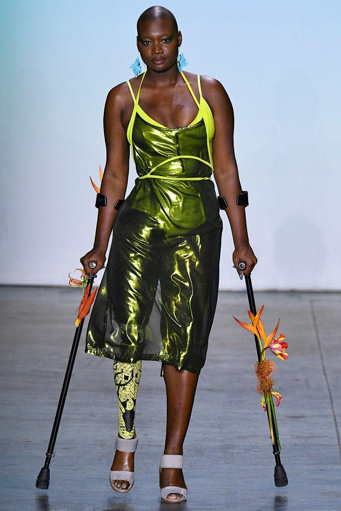 Model Mama Cax bedecked in undersea elegance on the runway for the Chromat Fall/Winter 2019 fashion show during New York Fashion Week on February 8, 2019 in New York City. (Photo: Victor VIRGILE/Gamma-Rapho/Getty Images)