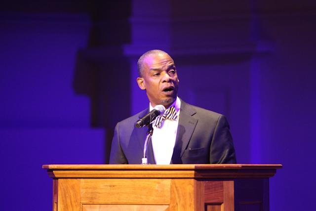 """John Gates, dean of diversity and inclusionat the University of Virginia School of Engineering and Applied Science, speaks at an on-campus """"Excellence Through Diversity"""" series event on Sept. 8."""
