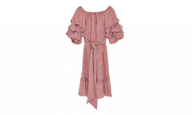 "<p>Gingham Dress with Ruffled Sleeves, $70,<a href=""https://www.zara.com/us/en/woman/dresses/view-all/gingham-dress-with-ruffled-sleeves-c719020p4528005.html"" rel=""nofollow noopener"" target=""_blank"" data-ylk=""slk:zara.com"" class=""link rapid-noclick-resp""> zara.com</a> </p>"