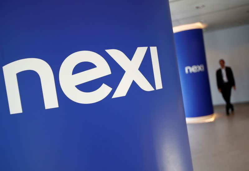 FILE PHOTO: The logo of Italian payments group Nexi is pictured inside their headquarters in Milan