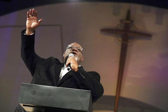 Dwight McKissic, pastor of Cornerstone Baptist Church, speaks during services in Arlington, Texas, on Sunday, June 6, 2021.