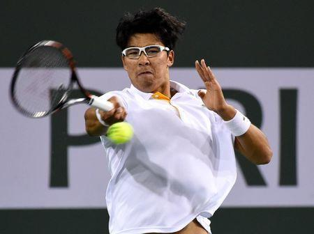 Mar 15, 2018; Indian Wells, CA, USA; Hyeon Chung (KOR) in his quarterfinal match against Roger Federer (not pictured) in the BNP Paribas Open at the Indian Wells Tennis Garden. Mandatory Credit: Jayne Kamin-Oncea-USA TODAY Sports