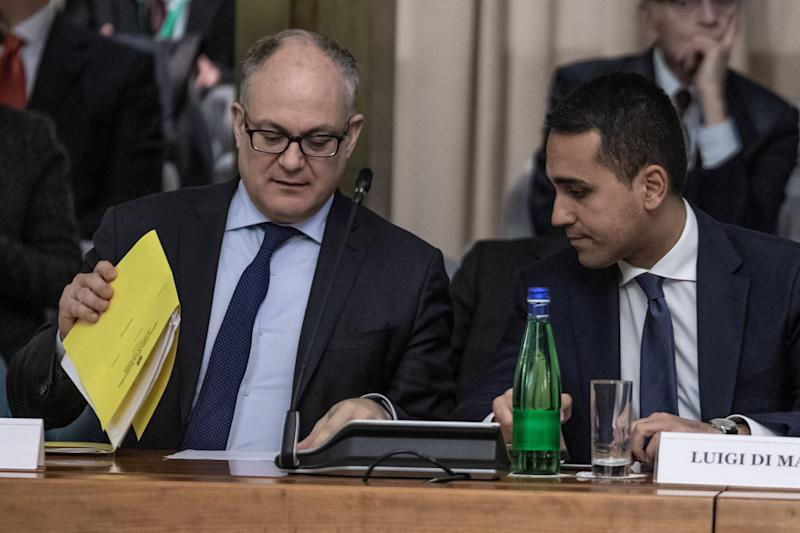 ROME, ITALY - MARCH 03, 2020: Foreign Minister, Luigi di Maio and Economy Minister, Roberto Gualtieri during the presentation of the Extraordinary Plan 2020 for the promotion of Made in Italy ahead of the Corona virus emergency at the Farnesina in Rome.- PHOTOGRAPH BY Cosimo Martemucci / Echoes Wire/ Barcroft Studios / Future Publishing (Photo credit should read Cosimo Martemucci / Echoes Wire/Barcroft Media via Getty Images) (Photo: Barcroft Media via Getty Images)