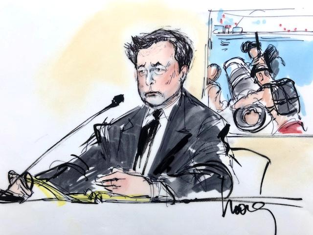 "Courtroom sketch shows Elon Musk during the trial in a defamation case filed by British cave diver Vernon Unsworth, who is suing the Tesla chief executive for calling him a ""pedo guy"" in one of a series of tweets, in Los Angeles"