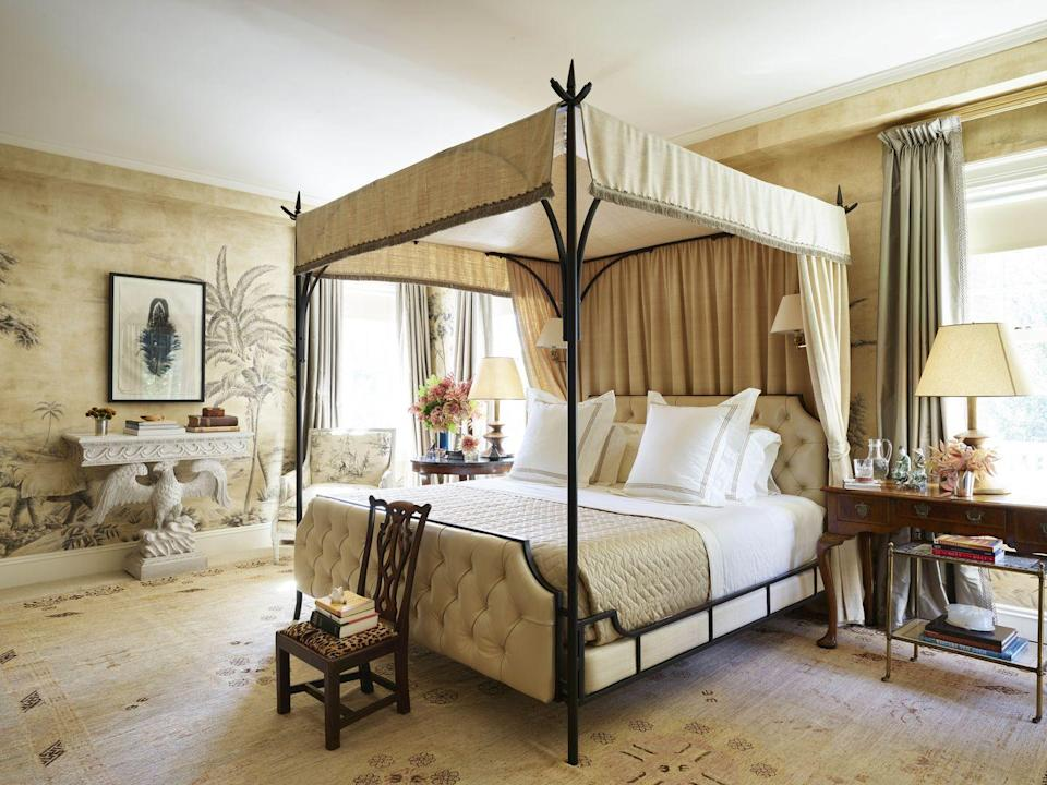 """<p>Designer <a href=""""https://reddkaihoi.com/"""" rel=""""nofollow noopener"""" target=""""_blank"""" data-ylk=""""slk:Miles Redd"""" class=""""link rapid-noclick-resp"""">Miles Redd</a> proves monochromatic rooms can be mesmerizing by mixing lavish materials like this custom ink-on-paper wallcovering with pedigreed antiques. In this New Jersey bedroom, a Roger Arlington raw silk and an <a href=""""https://fave.co/2L4mK2B"""" rel=""""nofollow noopener"""" target=""""_blank"""" data-ylk=""""slk:Edelman"""" class=""""link rapid-noclick-resp"""">Edelman</a> leather cover the custom <a href=""""https://fave.co/2DBQuh9"""" rel=""""nofollow noopener"""" target=""""_blank"""" data-ylk=""""slk:Morgik Metal Designs"""" class=""""link rapid-noclick-resp"""">Morgik Metal Designs </a>canopy bed.</p>"""