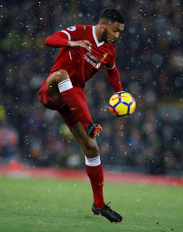 "Soccer Football - Premier League - Liverpool vs Watford - Anfield, Liverpool, Britain - March 17, 2018 Liverpool's Joe Gomez REUTERS/Phil Noble EDITORIAL USE ONLY. No use with unauthorized audio, video, data, fixture lists, club/league logos or ""live"" services. Online in-match use limited to 75 images, no video emulation. No use in betting, games or single club/league/player publications. Please contact your account representative for further details."