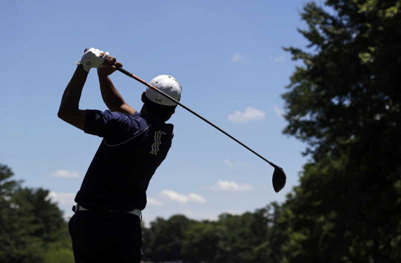 Andres Romero, of Argentina, watches his drive from the third tee during the third round of the AT&T National golf tournament at Congressional Country Club, Saturday, June 29, 2013, in Bethesda, Md. (AP Photo/Patrick Semansky)