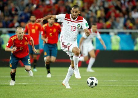 Soccer Football - World Cup - Group B - Spain vs Morocco - Kaliningrad Stadium, Kaliningrad, Russia - June 25, 2018 Morocco's Khalid Boutaib scores their first goal REUTERS/Christian Hartmann