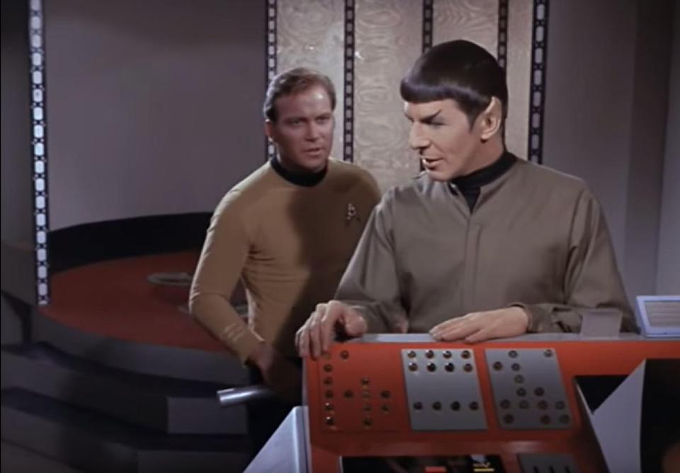 """We hate to ruin your childhoods, but Captain Kirk (<strong>William Shatner</strong>) never once says, """"Beam me up, Scotty."""" Not in the TV show that ran between 1966 and 1969, and certainly not in any of the movies. What <a href=""""https://www.youtube.com/watch?v=wY9NkYGUEyE&has_verified=1"""" rel=""""nofollow noopener"""" target=""""_blank"""" data-ylk=""""slk:he actually says"""" class=""""link rapid-noclick-resp"""">he actually says</a> is, """"Scotty, beam <em>us</em> up."""" Because Kirk is a team player, he's not going to leave his friends behind. Kirk delivers variations on that line during the TV run, ranging from""""Ready to beam up, Jim,"""" to """"Gentlemen, I suggest you beam me aboard."""" But never """"Beam me up, Scotty."""""""