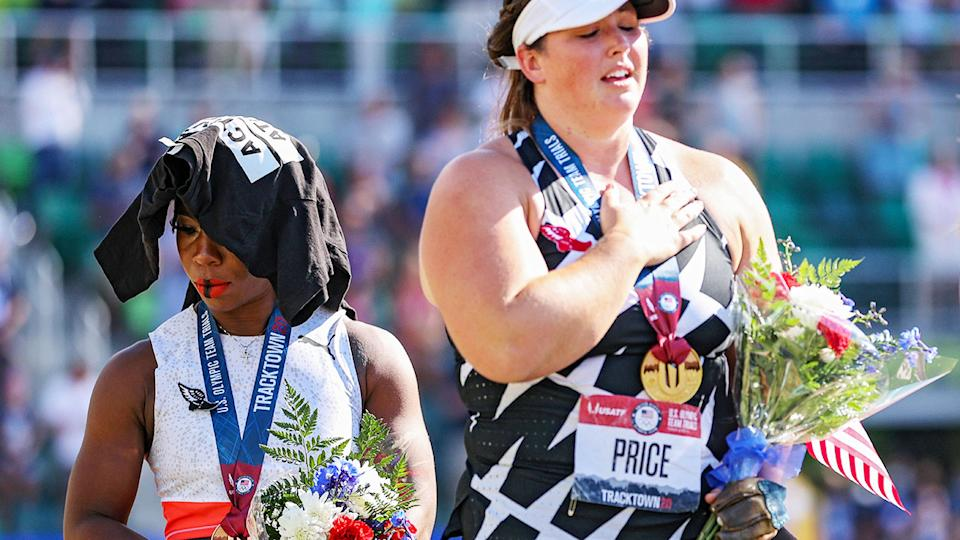 Gwen Berry, pictured here with DeAnna Price on the podium at the US Olympic trials.