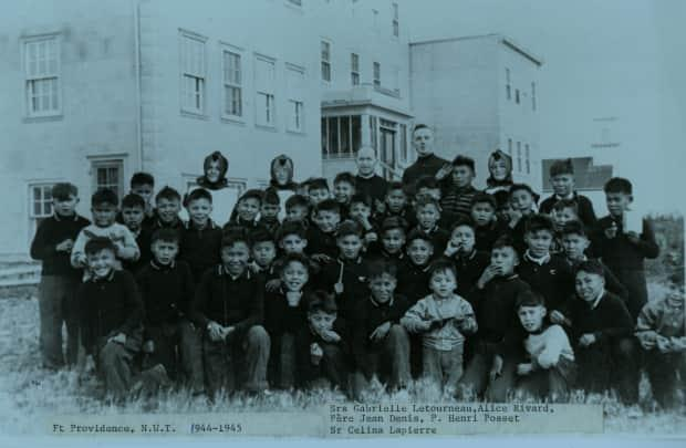 Students at the Sacred Heart Mission School in Fort Providence, N.W.T., in the 1940s.