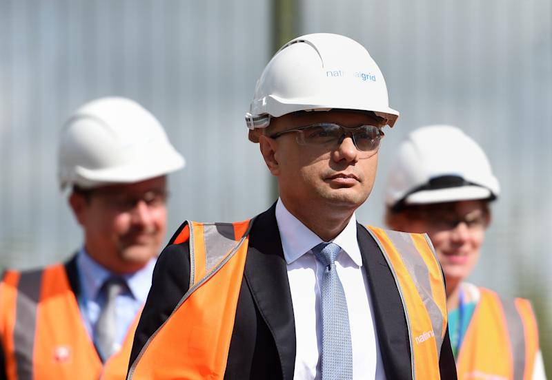 Chancellor Sajid Javid during a visit to the National Grid Training Centre near Newark, as the UK's economy shrank for the first time since 2012 in the second quarter of this year, as the manufacturing and construction sectors both slumped.